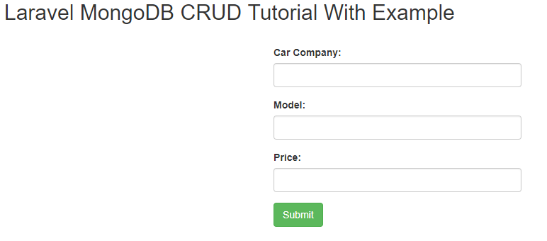 Laravel MongoDB CRUD Tutorial
