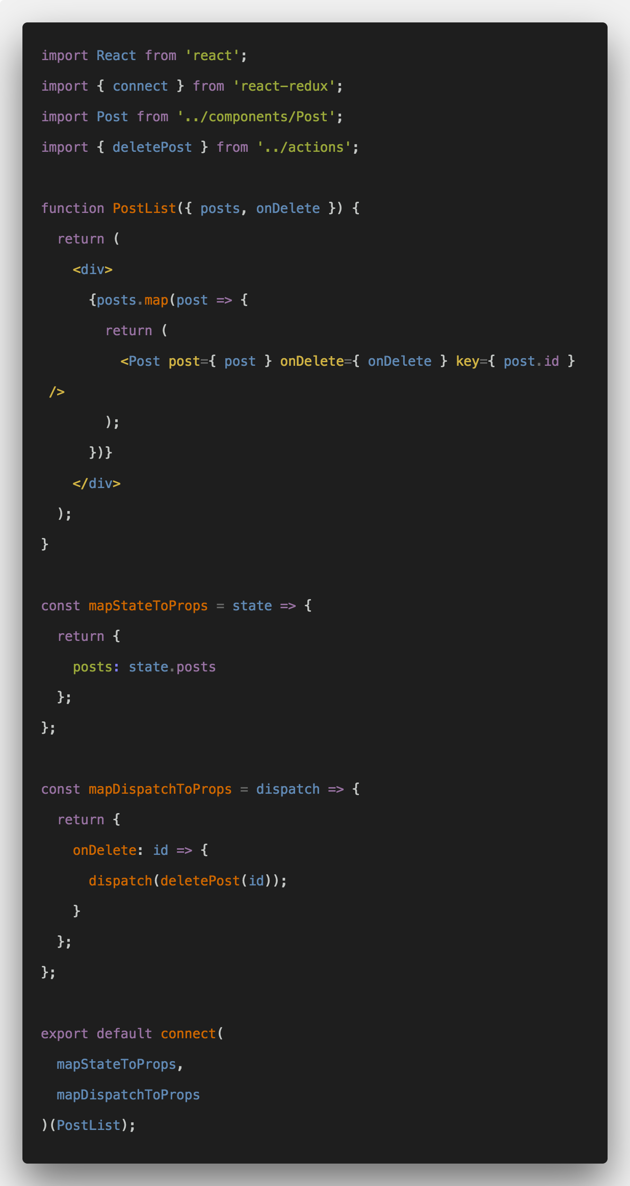Connect React.js and Redux Example