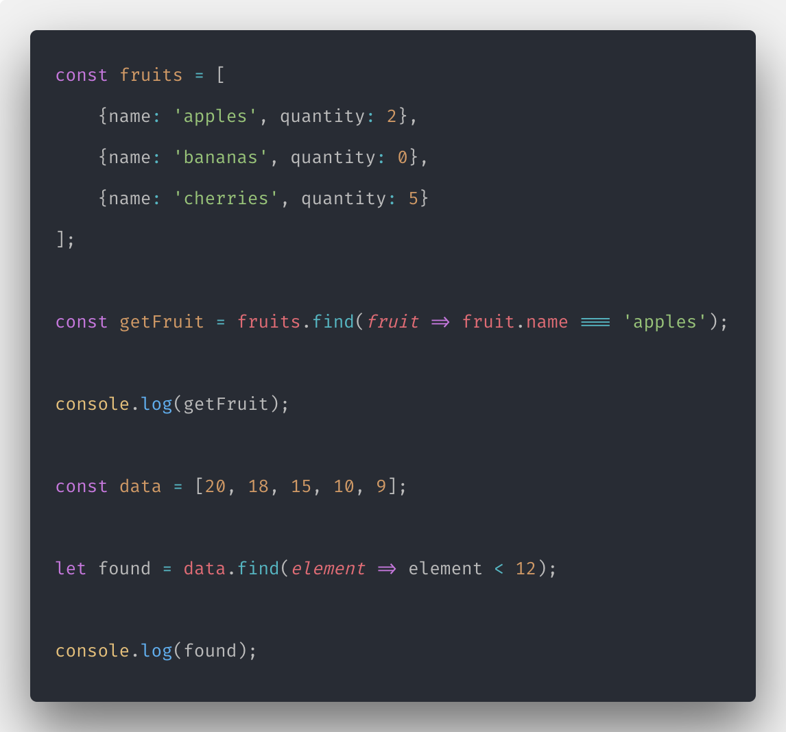 Javascript array find: How to Find Element in Javascript