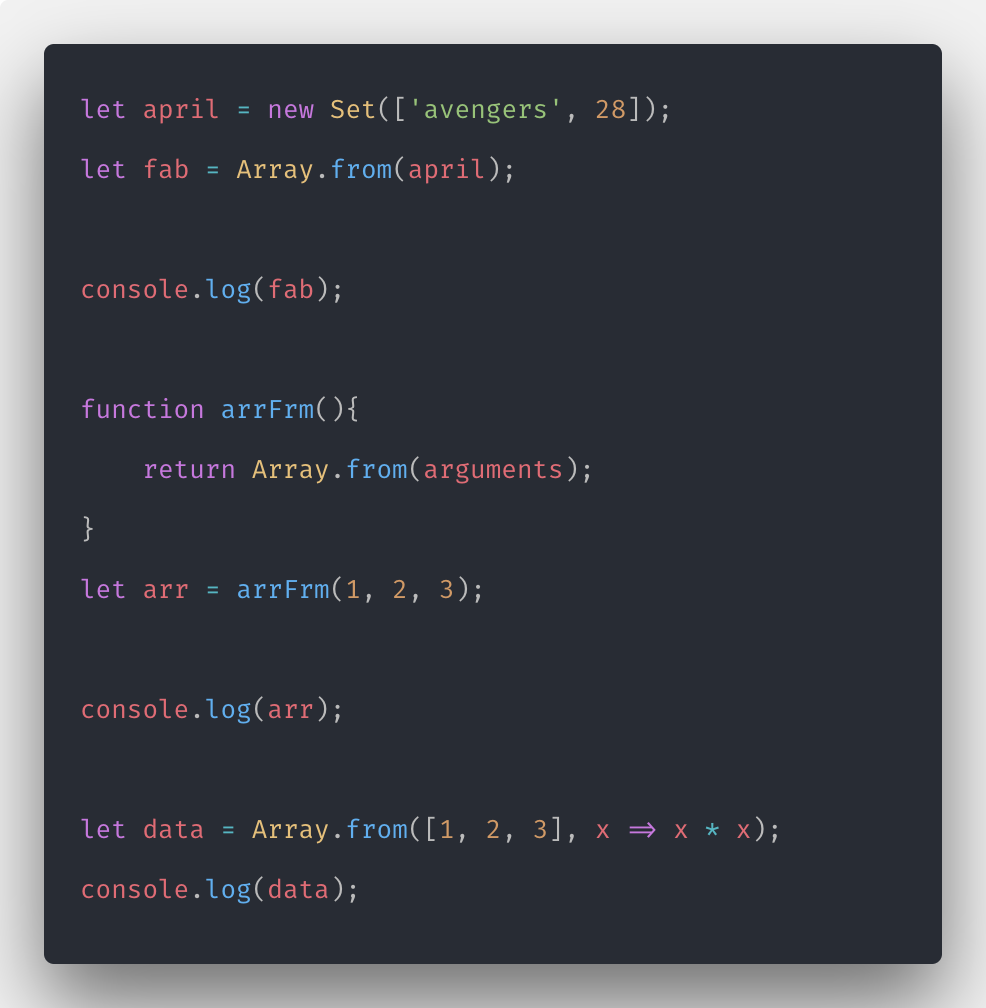 Javascript Array From Example | Array.prototype.from()