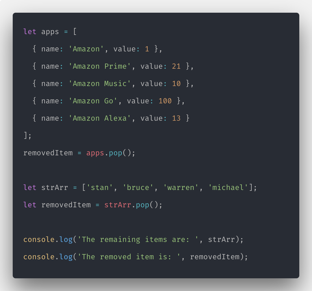 Javascript Array pop How to Remove Element from Array