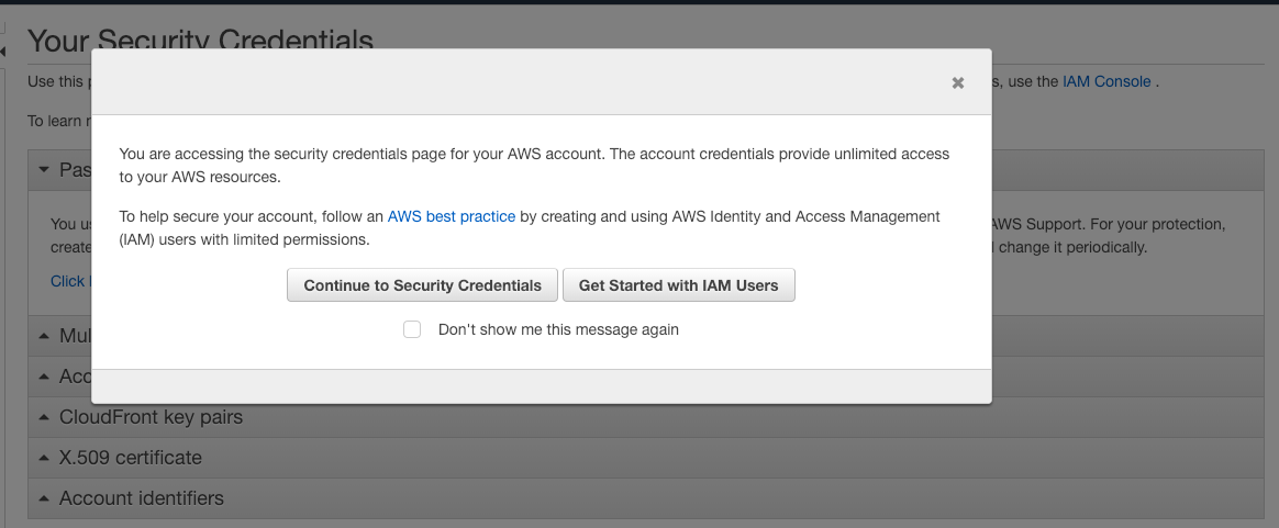 Create Access Key and Secret For AWS