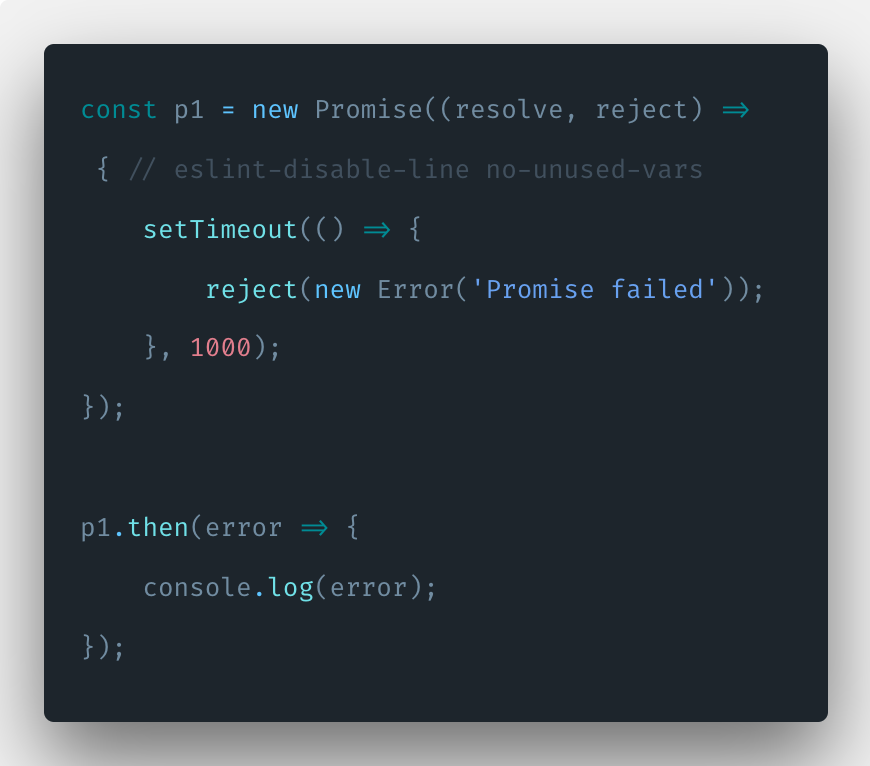 Javascript Promise.reject() example tutorial
