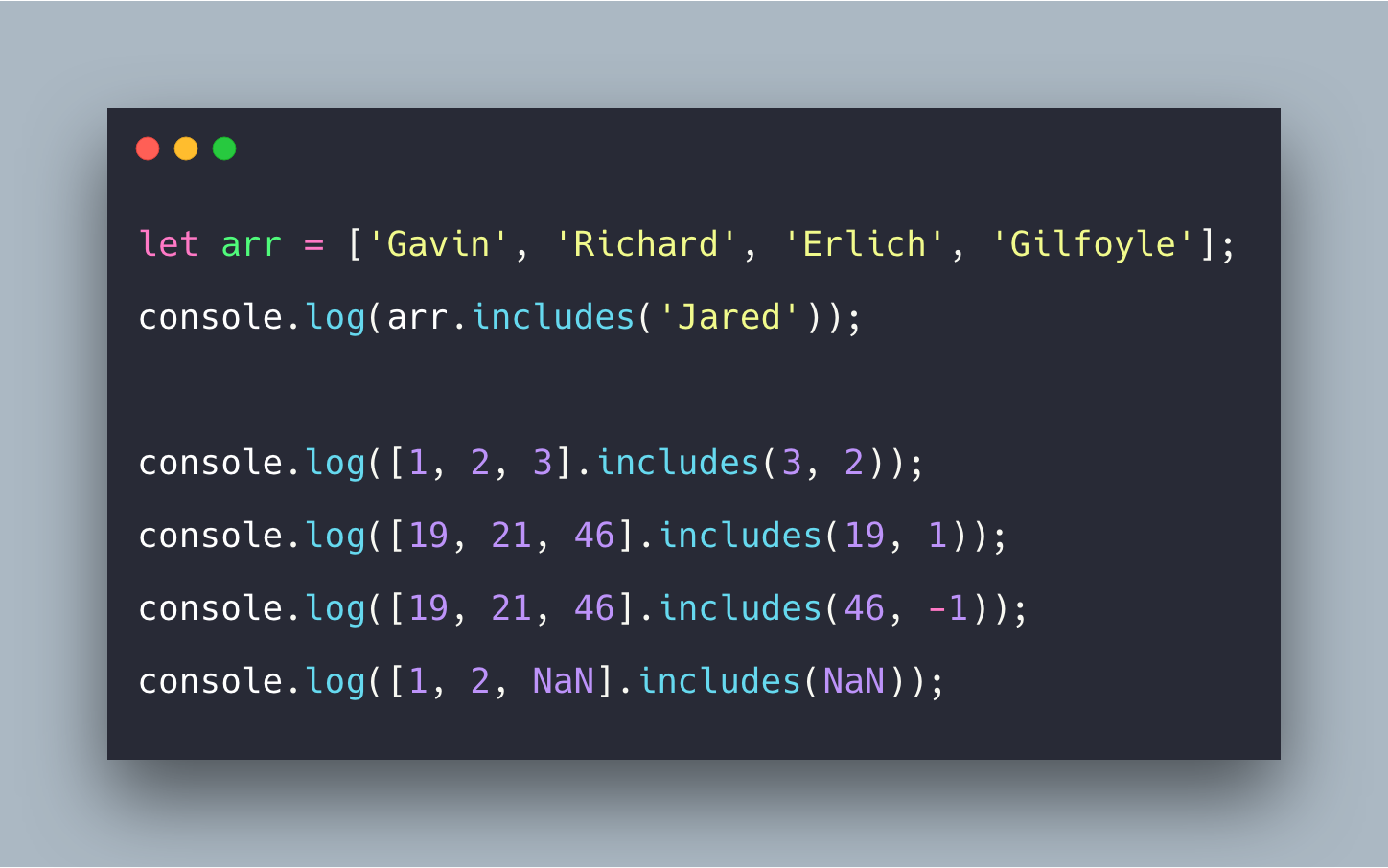 Javascript Array Includes Example | Array prototype includes