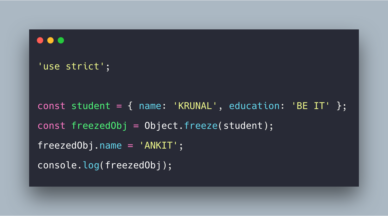 Javascript Object Freeze Example | Object.freeze() Tutorial