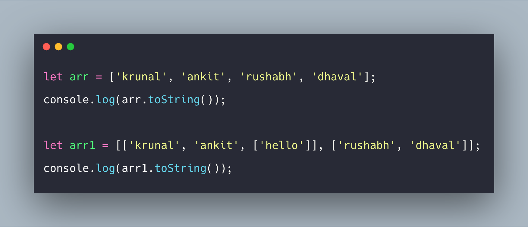 Javascript Array ToString Example | Array.prototype.toString() Tutorial