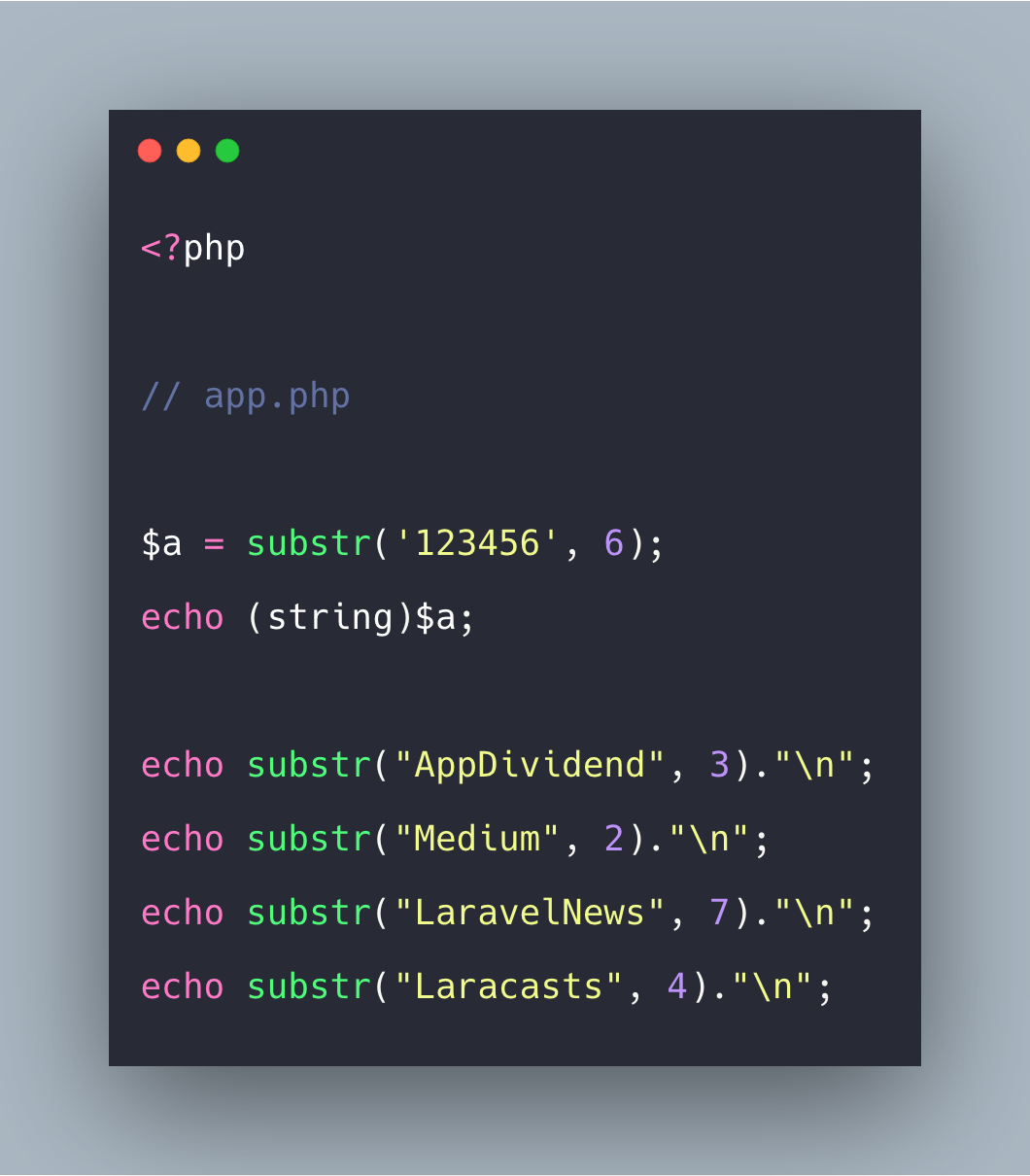 PHP String Substr Example | PHP substr() Function
