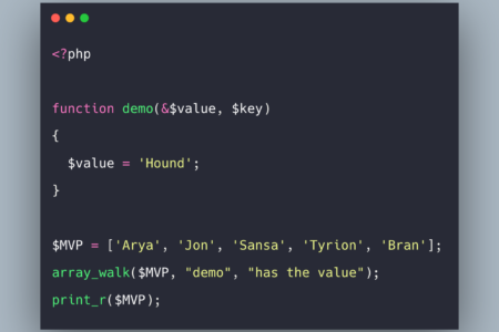 PHP array_walk Example | PHP array_walk() Function Tutorial