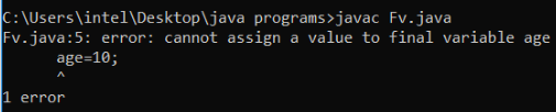 Final Variable in Java