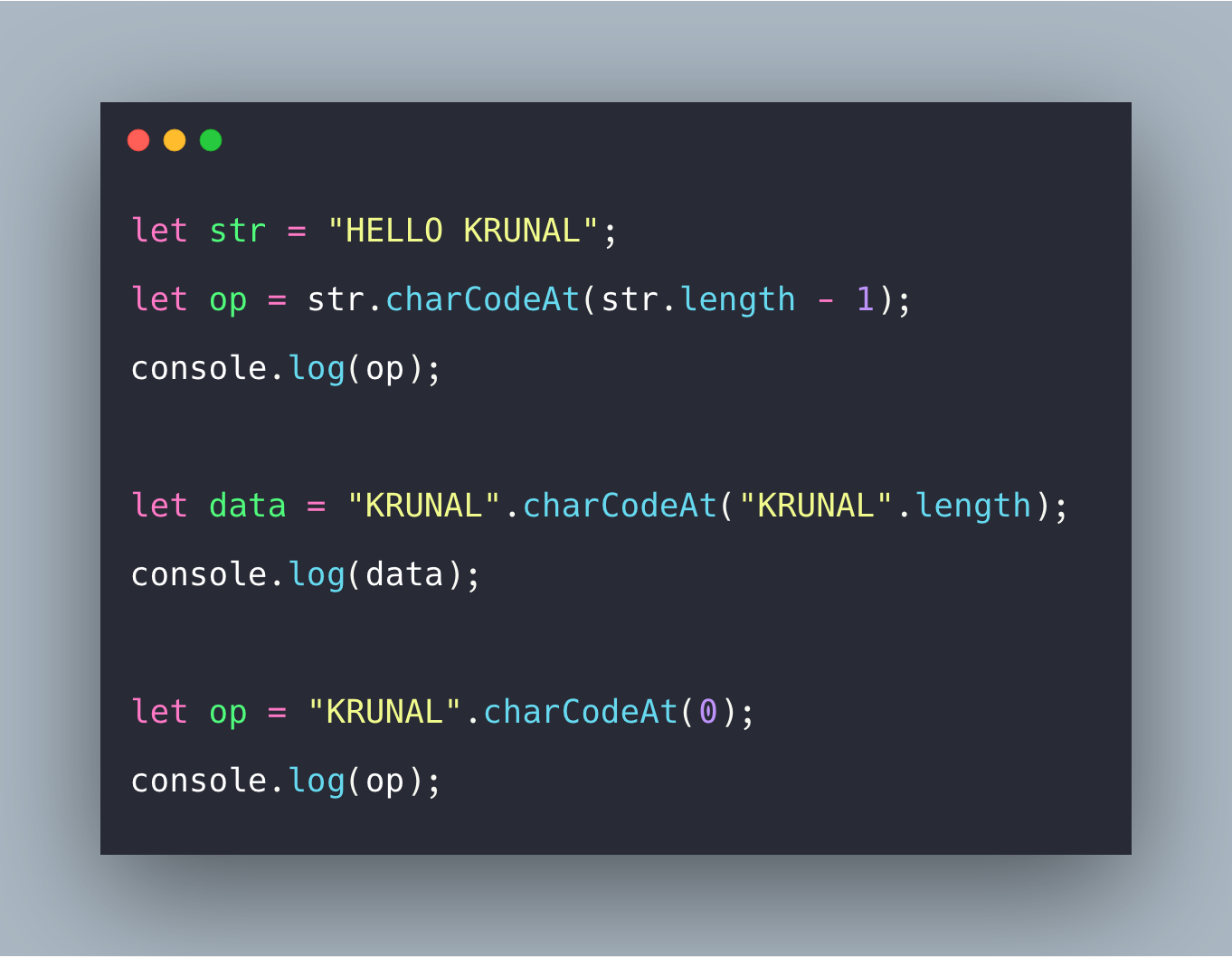 Javascript String charCodeAt() Example   String.Prototype.CharCodeAt()