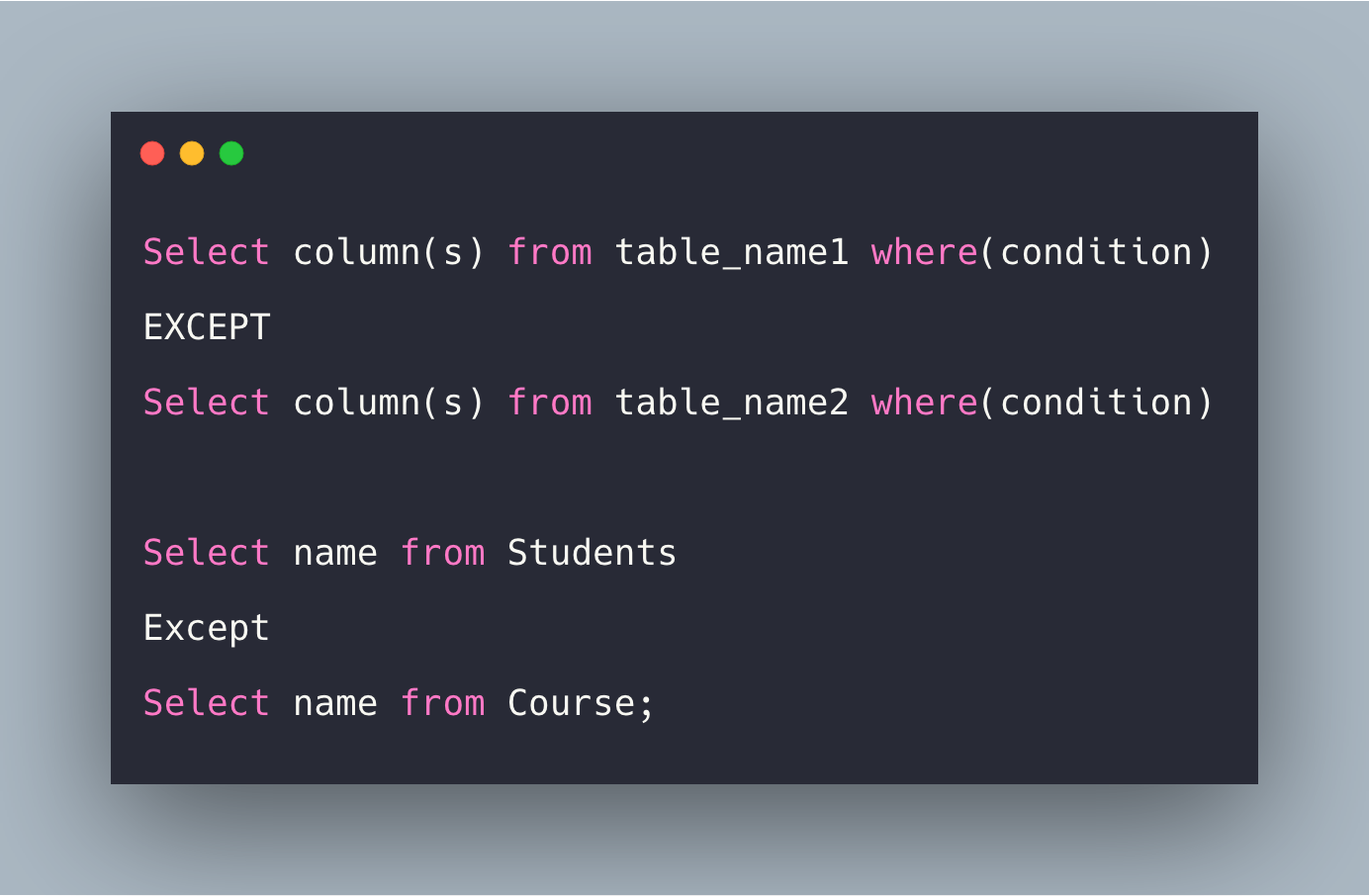 SQL Except Clause Example