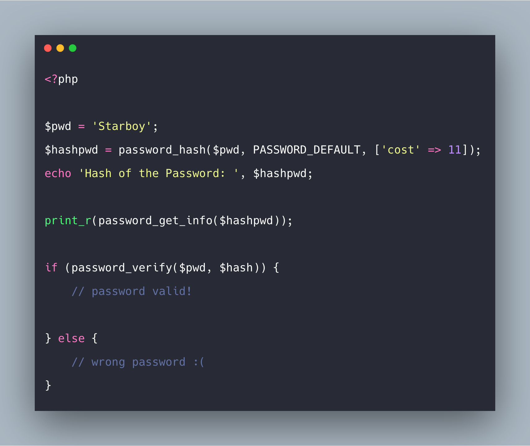 PHP Password Hashing Functions API Example