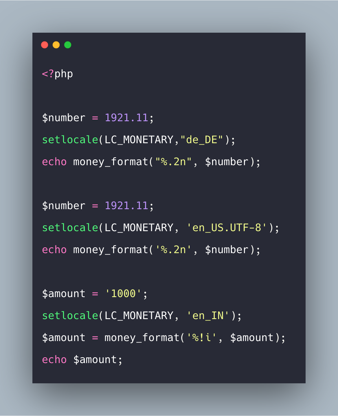 PHP money_format() Function Example Tutorial