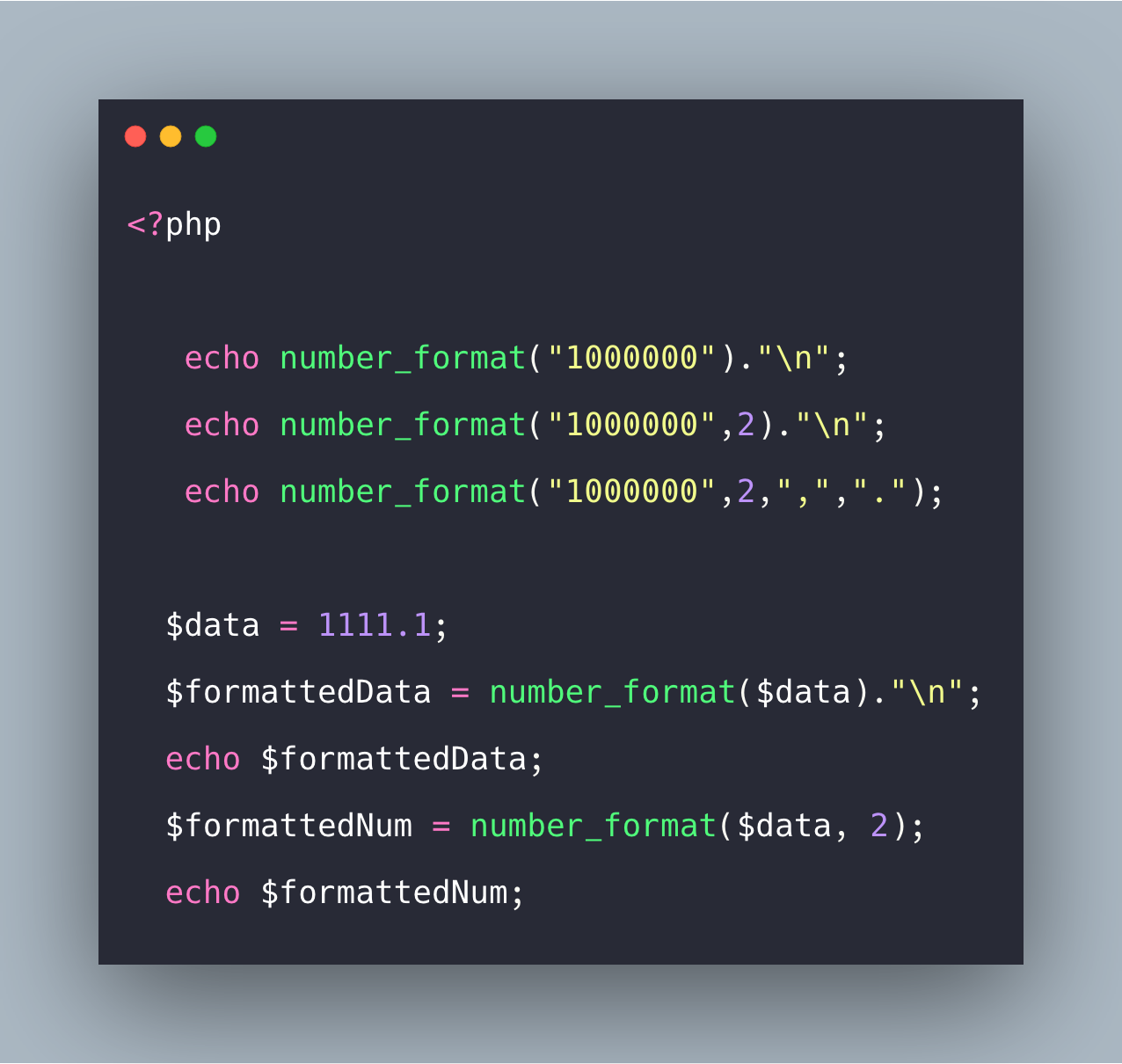 PHP number_format() Example | number_format() Method Tutorial
