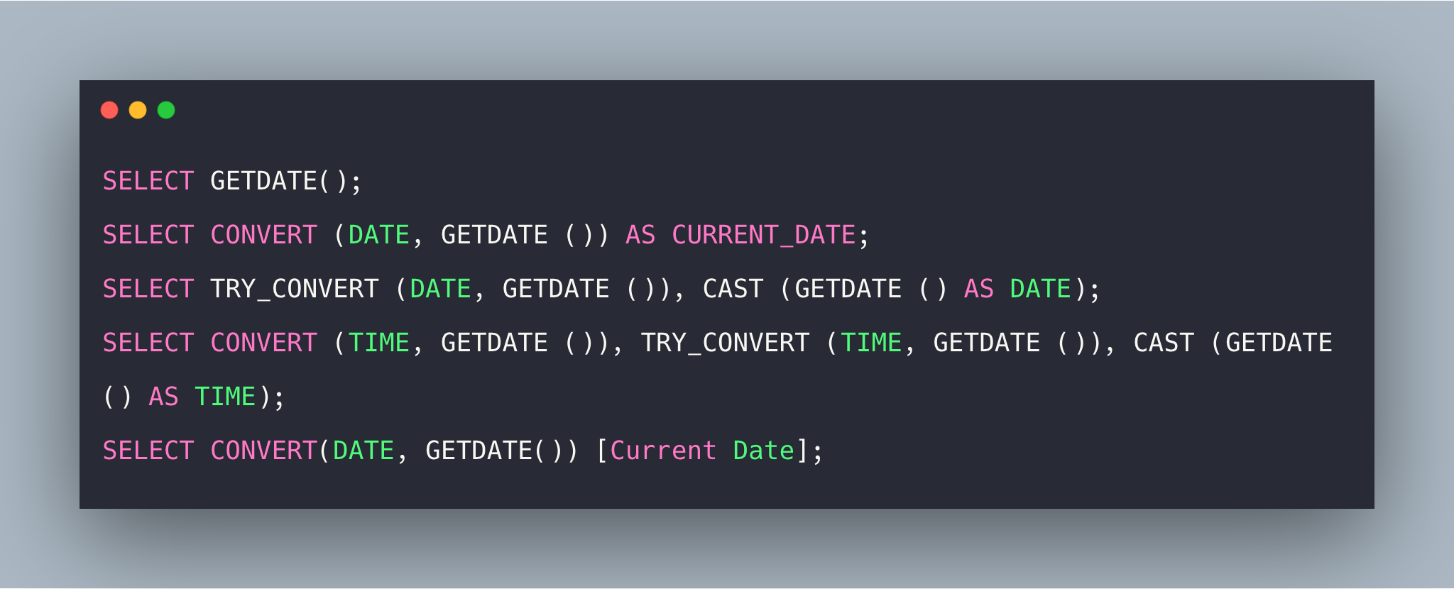 SQL GETDATE Function Example