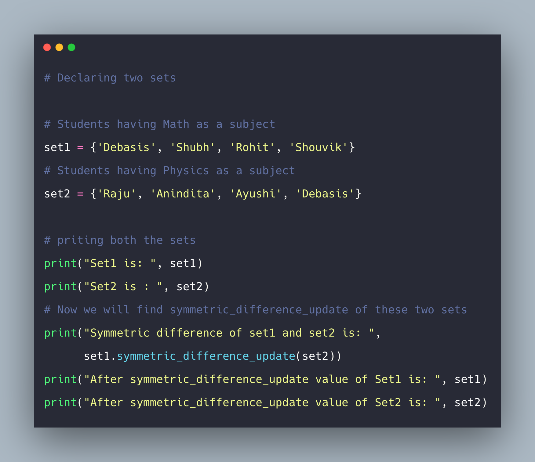 Python Set symmetric_difference_update() Method Example