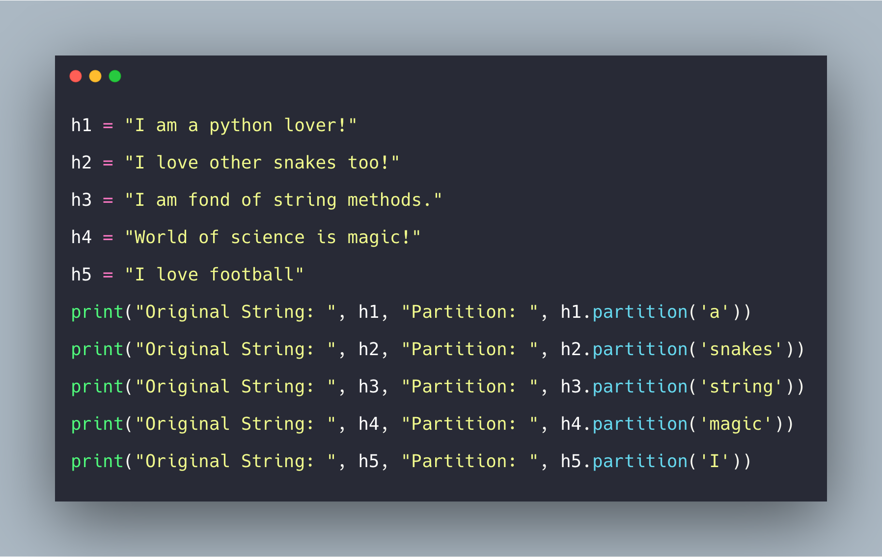Python String partition() Method Example