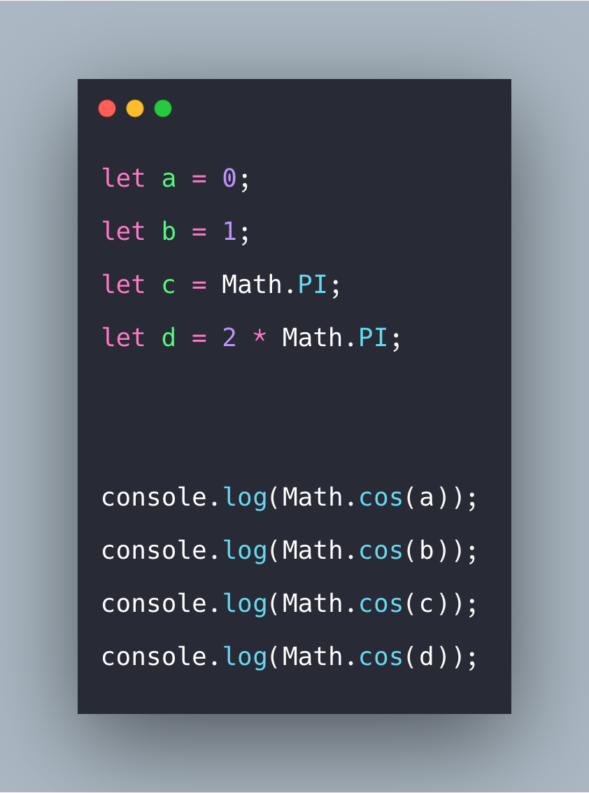 JavaScript Math cos() Function Example