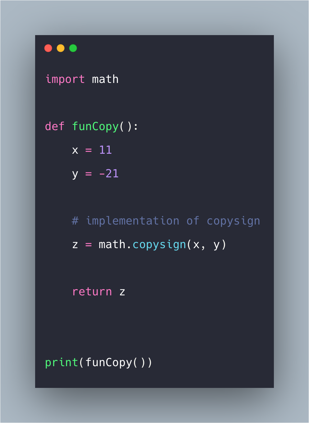 Python Math copysign() Function Example