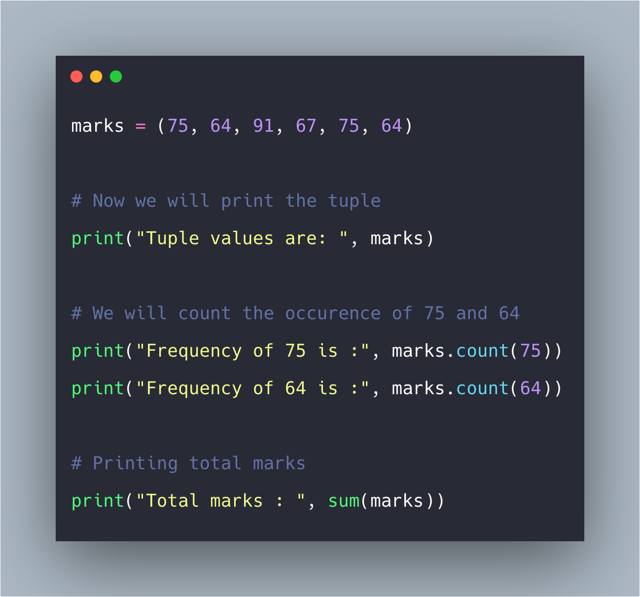 Python Tuple count() Function Example
