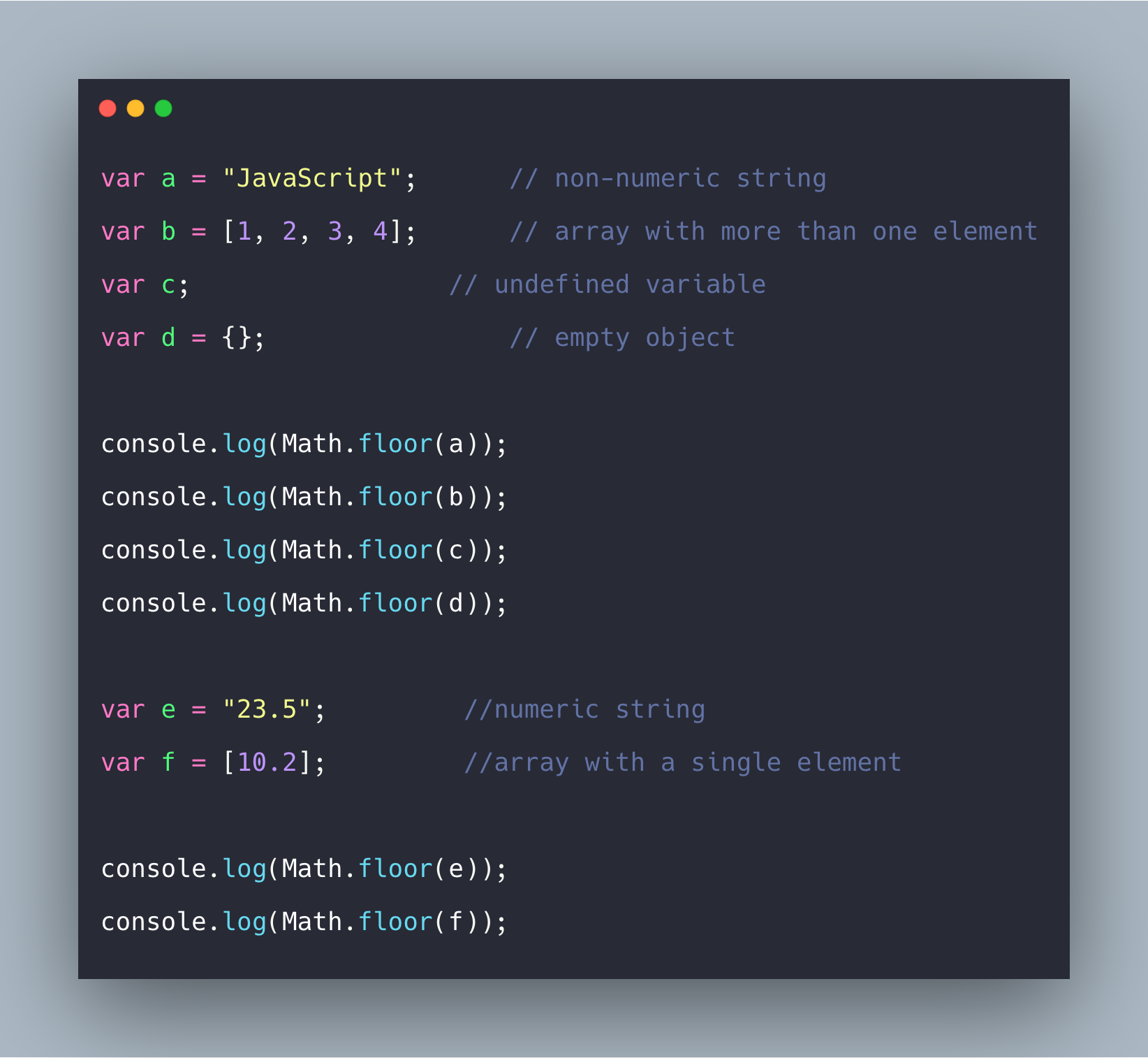 Javascript Math floor() Function