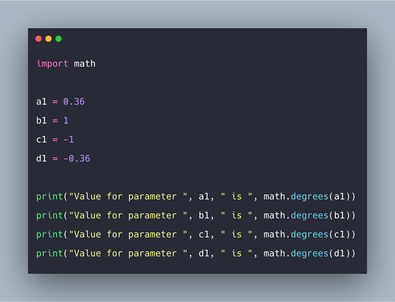 Python degrees() Function   Math.degrees() in Python Example