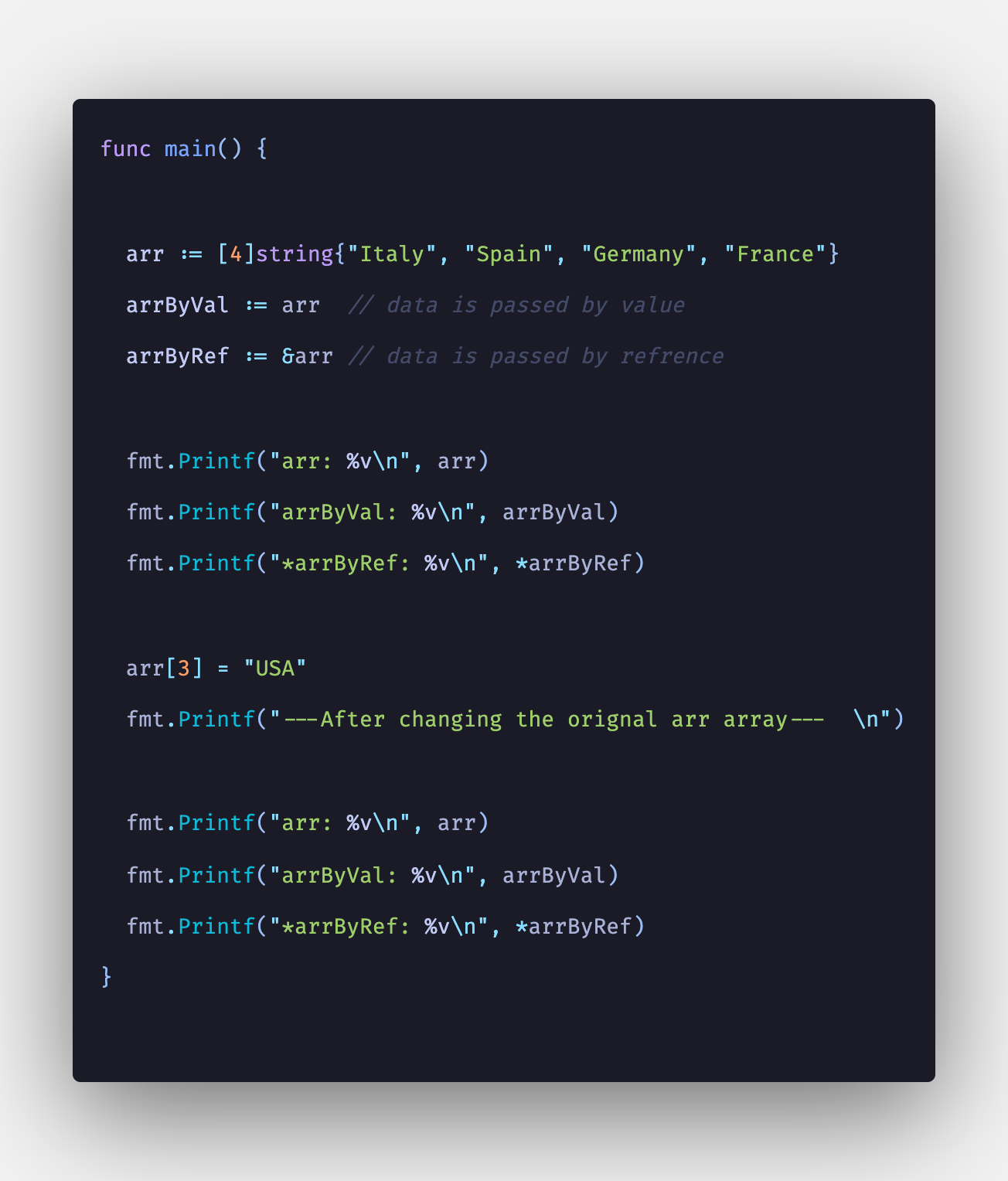 Golang: How To Copy Array Into Another Array