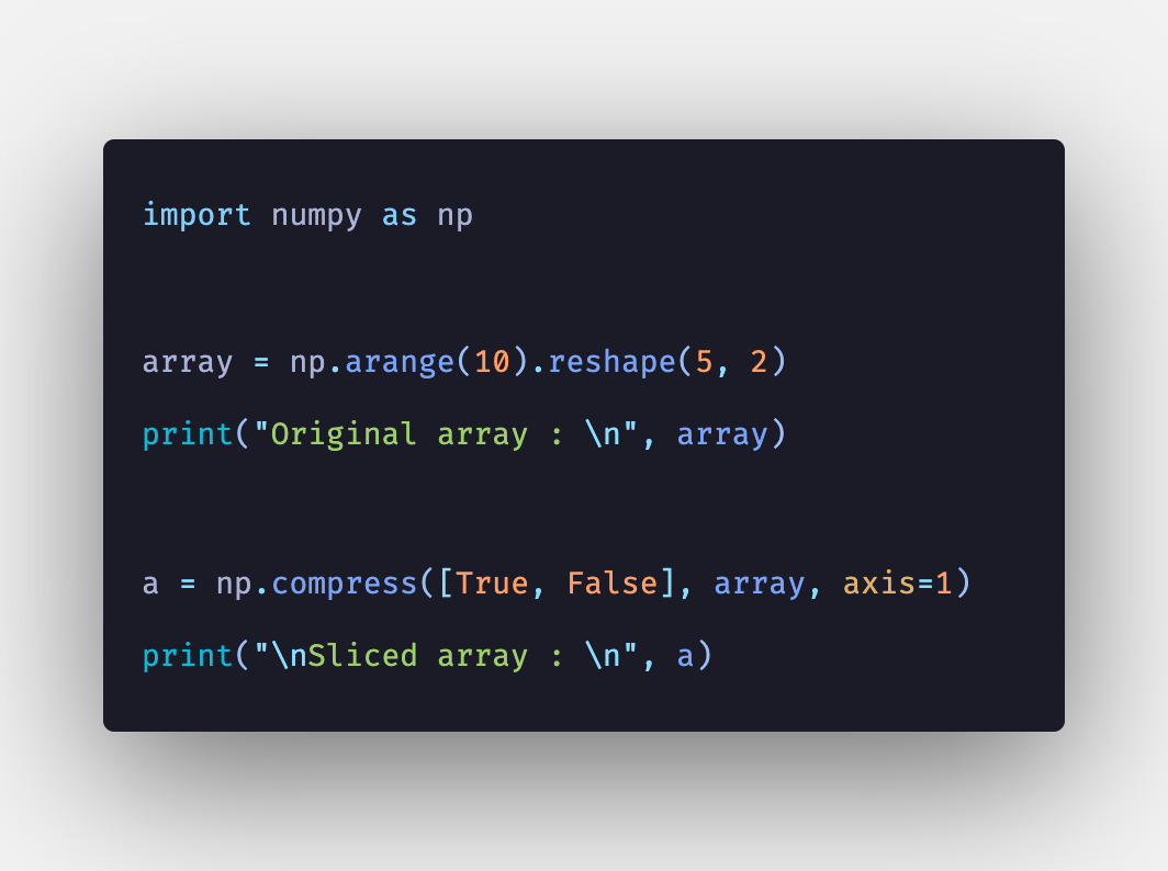 Python NumPy compress() Function Example