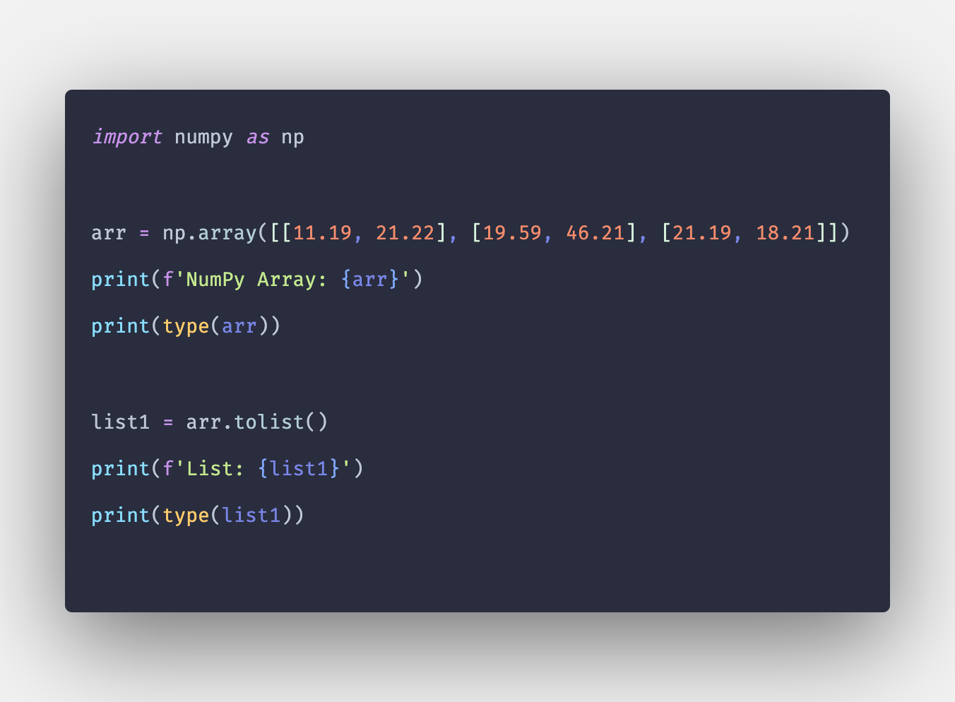 How to Convert Numpy Array to List in Python