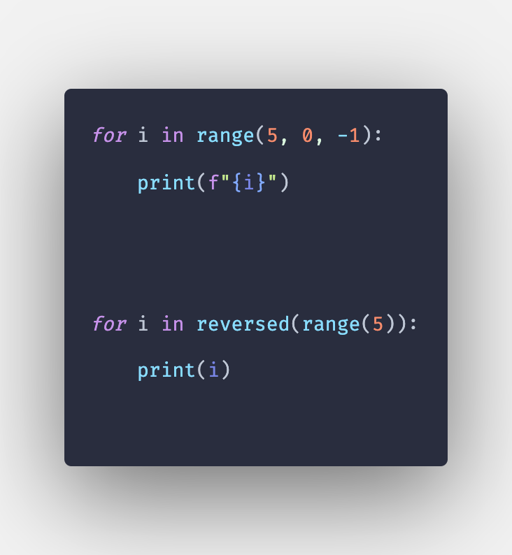 How to reverse a range in Python