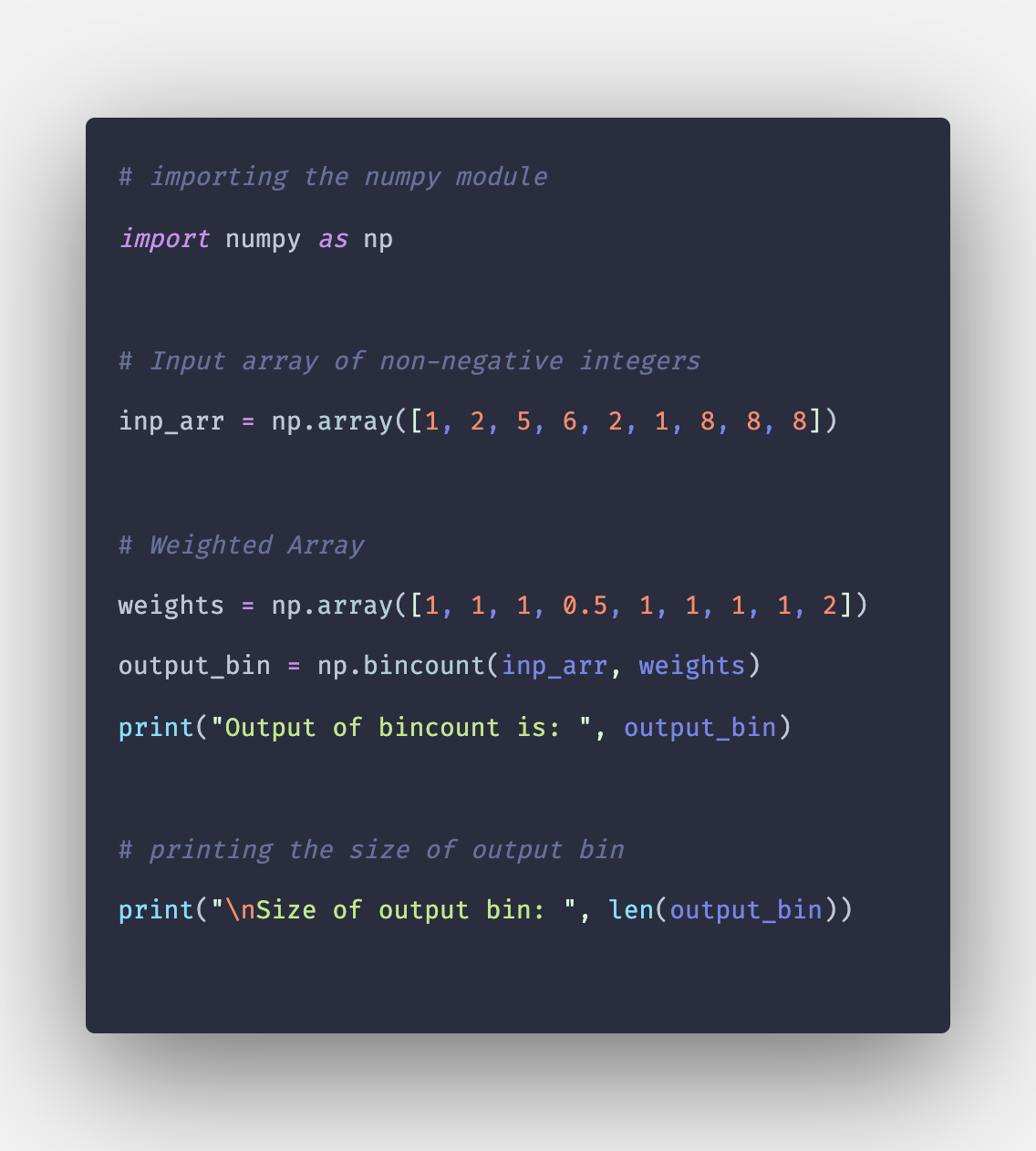 Numpy bincount() Example   np bincount in Python