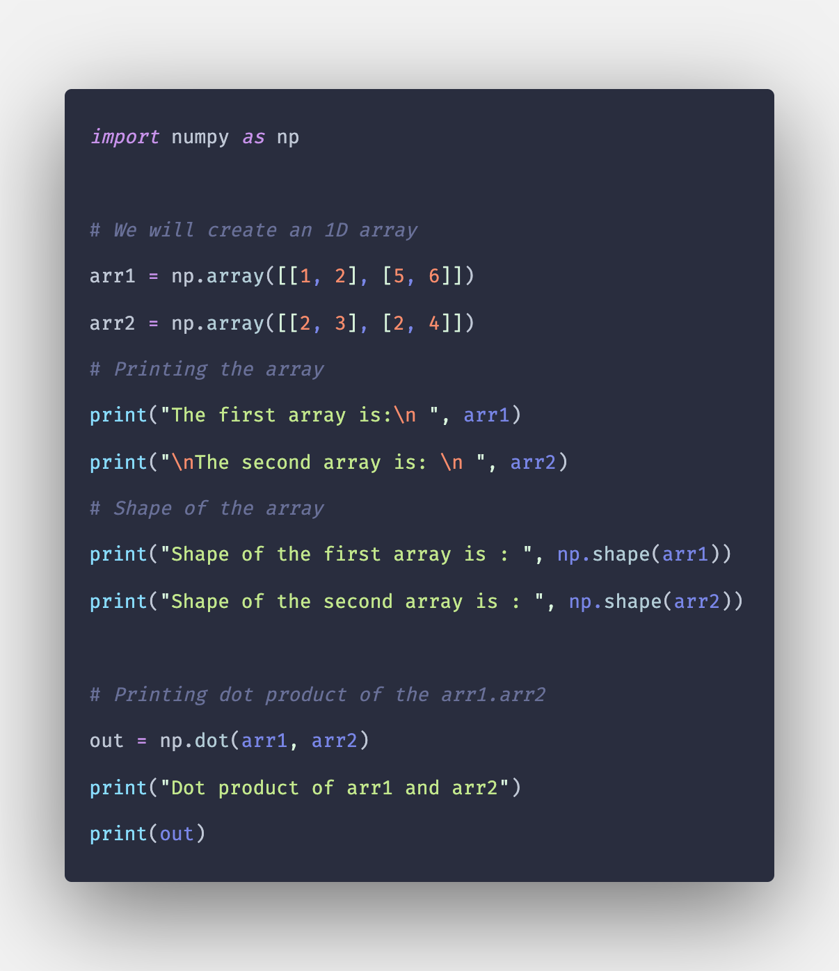 Numpy dot Example | np dot() in Python