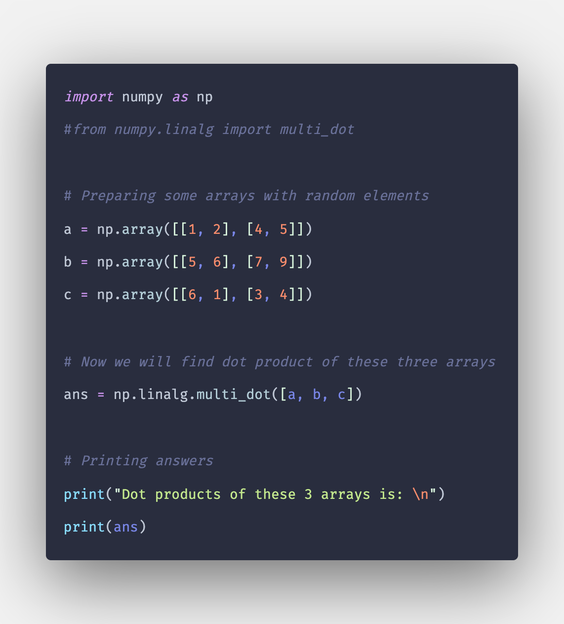Numpy linalg multi_dot() Function in Python
