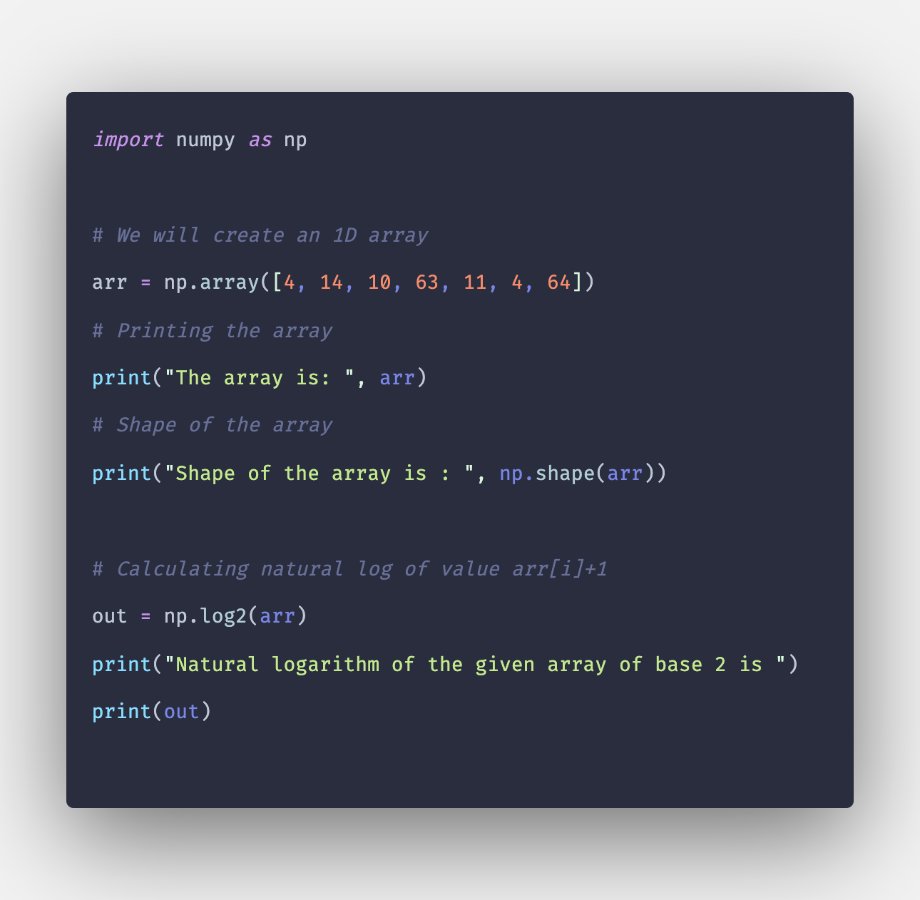 Numpy log2() Method Example in Python