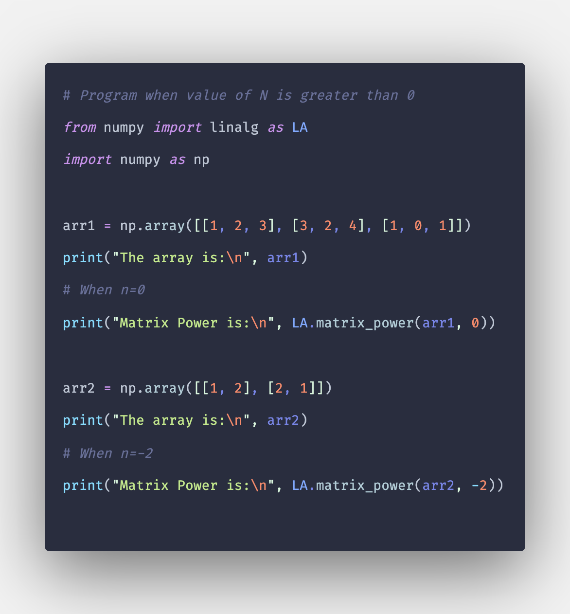 Numpy linalg matrix_power: How to Calculate Power of Matrix